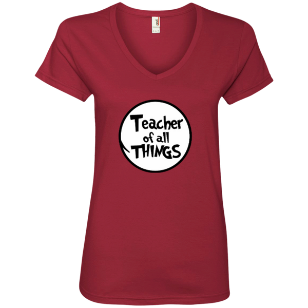 Teacher Of All Things ver2 Ladies' V-Neck Tee - TeachersLoungeShop - 2
