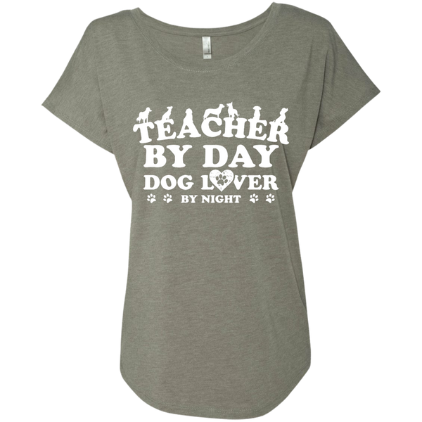 Teacher By Day Dog Lover Next  Level Ladies Triblend Dolman Sleeve - TeachersLoungeShop - 3