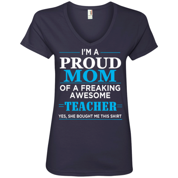 Proud Mom of Freaking awesome Teacher Ladies' V-Neck Tee - TeachersLoungeShop - 4
