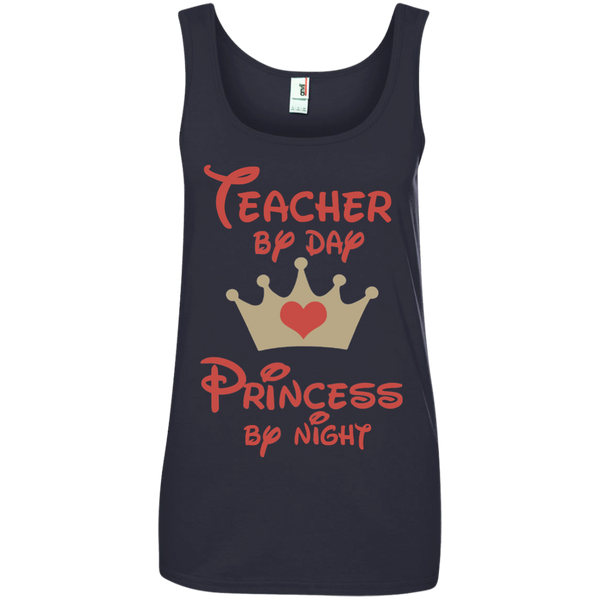 Teacher by Day Princess by Night Ladies' 100% Ringspun Cotton Tank Top - TeachersLoungeShop - 4