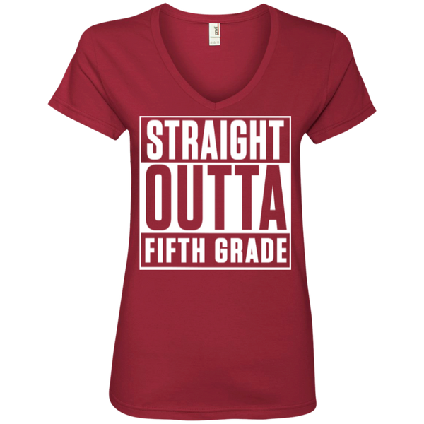 Straight Outta Fifth Grade ' V-Neck Tee - TeachersLoungeShop - 3