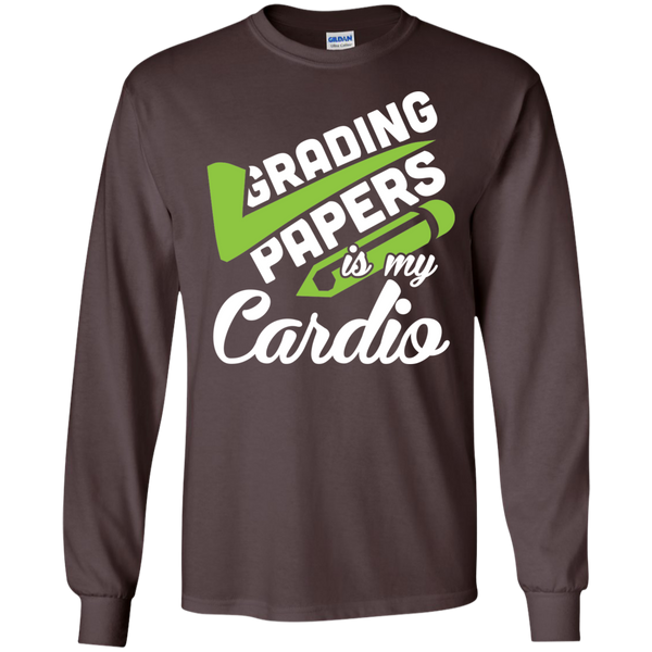Grading papers is my cardio  LS Ultra Cotton Tshirt - TeachersLoungeShop - 3