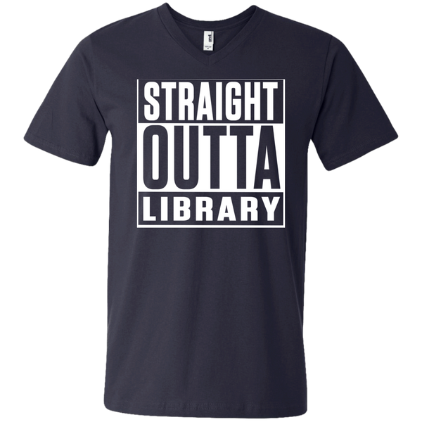 Straight Outta Library  Men's Printed V-Neck T - TeachersLoungeShop - 2