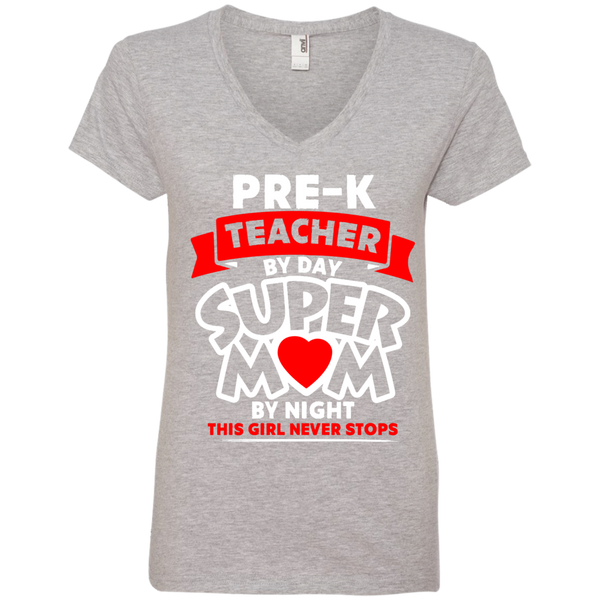Pre-k  Teacher by Day Super Mom By Night  Ladies  V-Neck Tee - TeachersLoungeShop - 1
