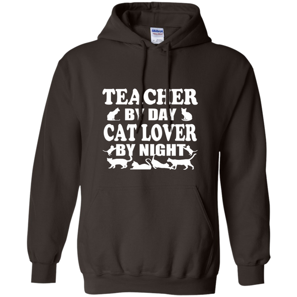 Teacher by Day Cat Lover by Night Pullover Hoodie 8 oz - TeachersLoungeShop - 5