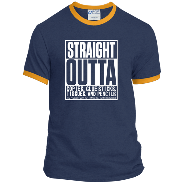 Straight Outta Copies Glue Sticks Tissues and Pencils Ringer Tee - TeachersLoungeShop - 6