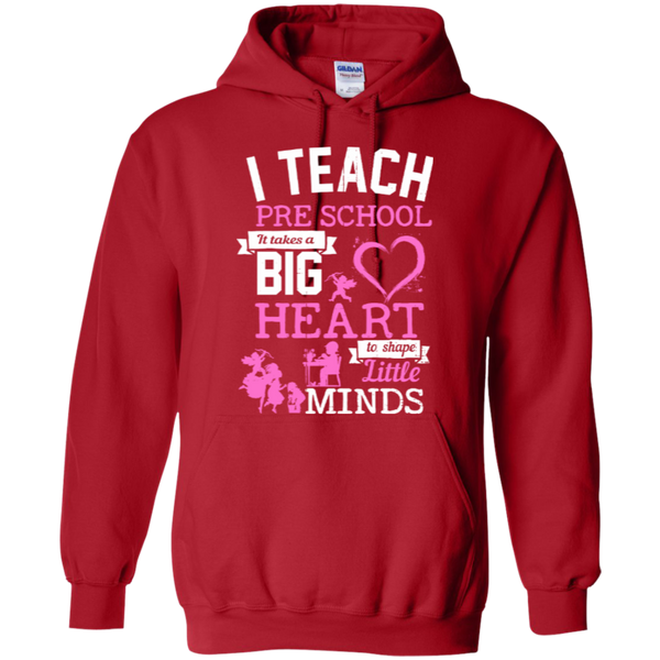 I Teach Preschool It Takes a Big Heart to Shape Little Minds Hoodie 8 oz - TeachersLoungeShop - 9