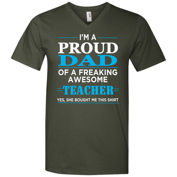 Proud Dad Of Freaking Awesome Teacher   Men's Printed V-Neck T-Shirt