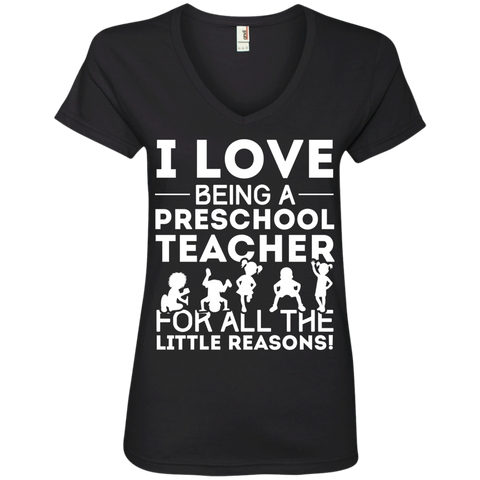I Love being a Preschool Teacher for all the little reason Ladies' V-Neck Tee - TeachersLoungeShop - 1