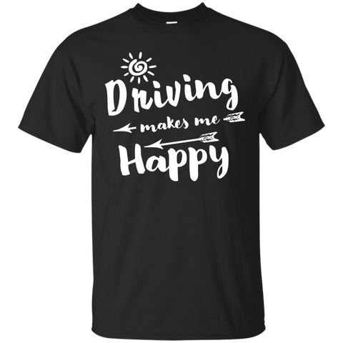 Driving Makes Me Happy Cotton T-Shirt - TeachersLoungeShop - 1