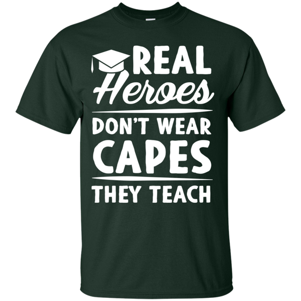 Real Heroes Dont wear capes They Teach T-Shirt - TeachersLoungeShop - 4