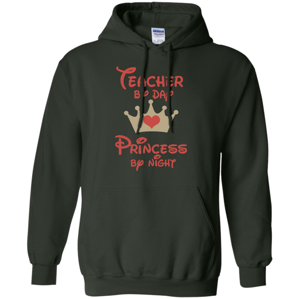 Teacher by Day Princess by Night Pullover Hoodie 8 oz - TeachersLoungeShop - 4