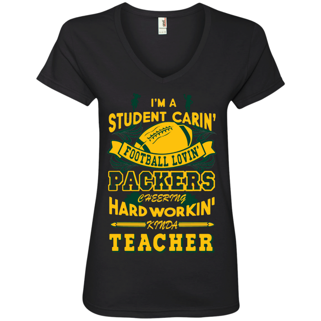 Student Caring Loving Cheering Packers Teacher   V-Neck Tee - TeachersLoungeShop - 1