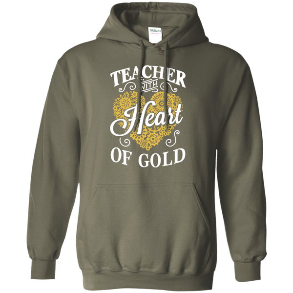 Teacher with Heart of Gold  Hoodie 8 oz - TeachersLoungeShop - 9