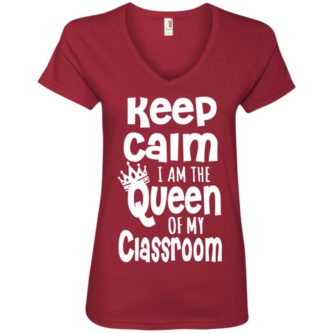 Keep Calm I am the Queen of My Classroom Ladies' V-Neck Tee - TeachersLoungeShop - 1