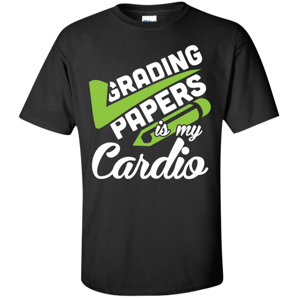 Grading papers is my cardio Cotton T-Shirt - TeachersLoungeShop - 1