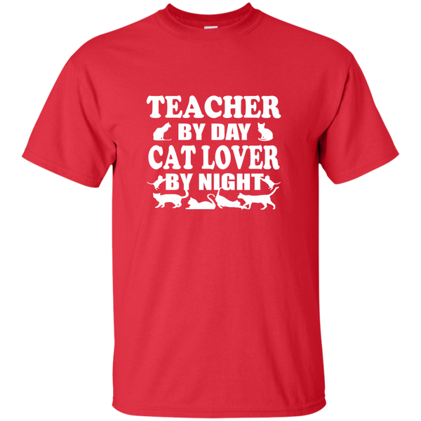 Teacher by Day Cat Lover by Night Cotton T-Shirt - TeachersLoungeShop - 2