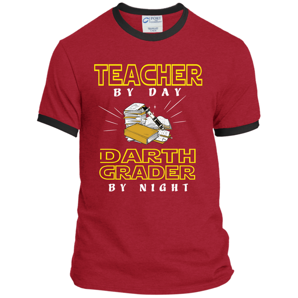 Teacher By Day Darth Grader By Night Ringer Tee - TeachersLoungeShop - 6