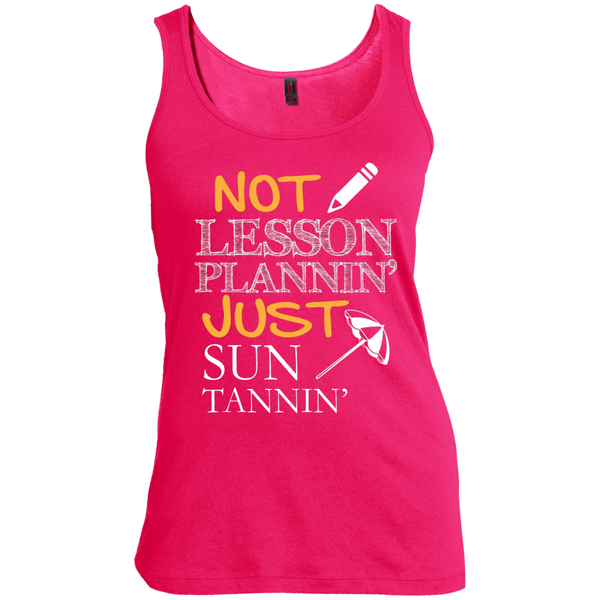 Not Lesson Plannin' Just Sun Tannin'  Scoop Neck Tank Top - TeachersLoungeShop - 3