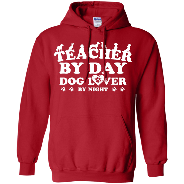 Teacher By Day Dog Lover by Night  Hoodie 8 oz - TeachersLoungeShop - 11