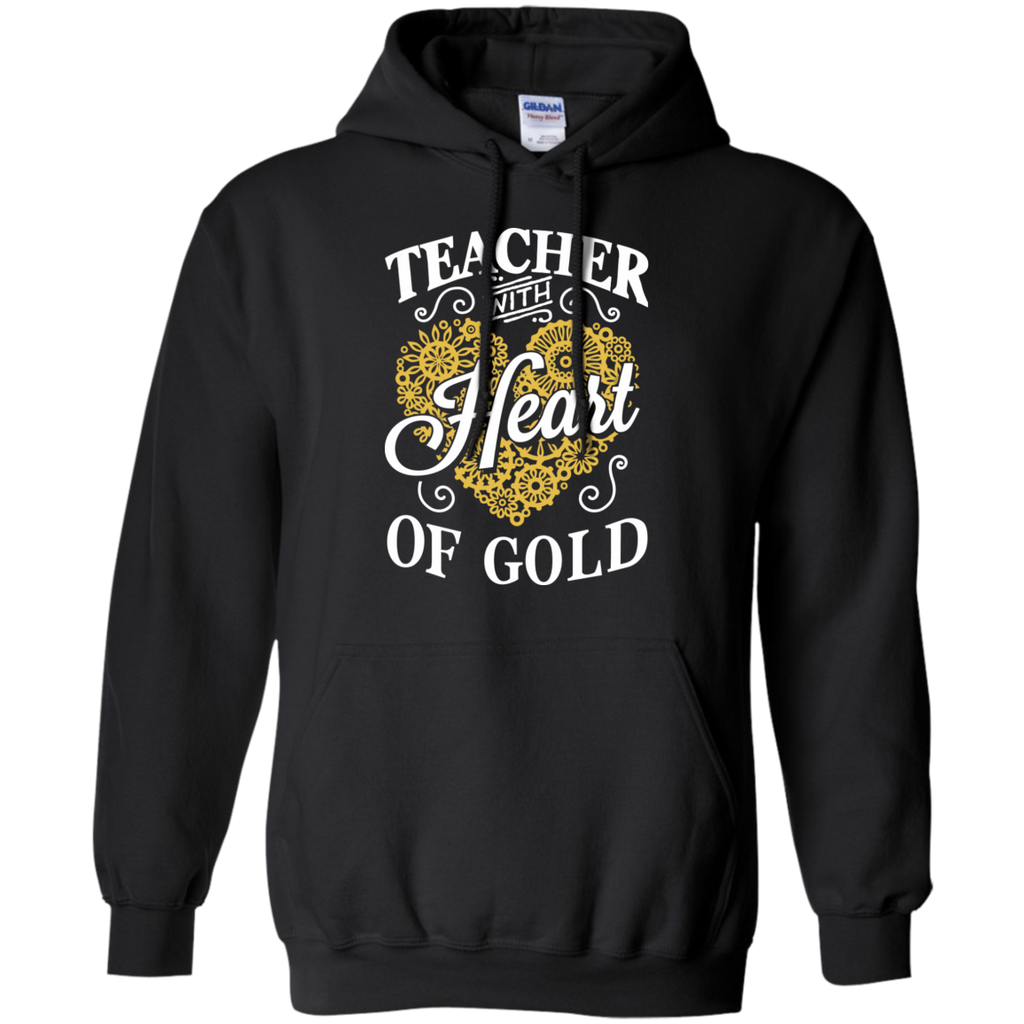 Teacher with Heart of Gold  Hoodie 8 oz - TeachersLoungeShop - 1
