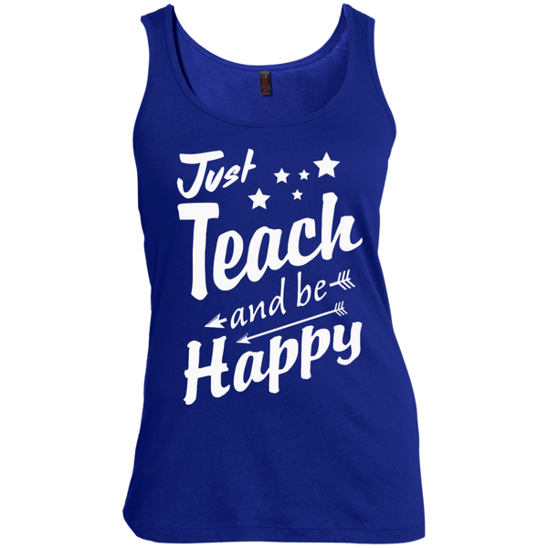 Just Teach and Be Happy  Women's  Scoop Neck Tank Top - TeachersLoungeShop - 4