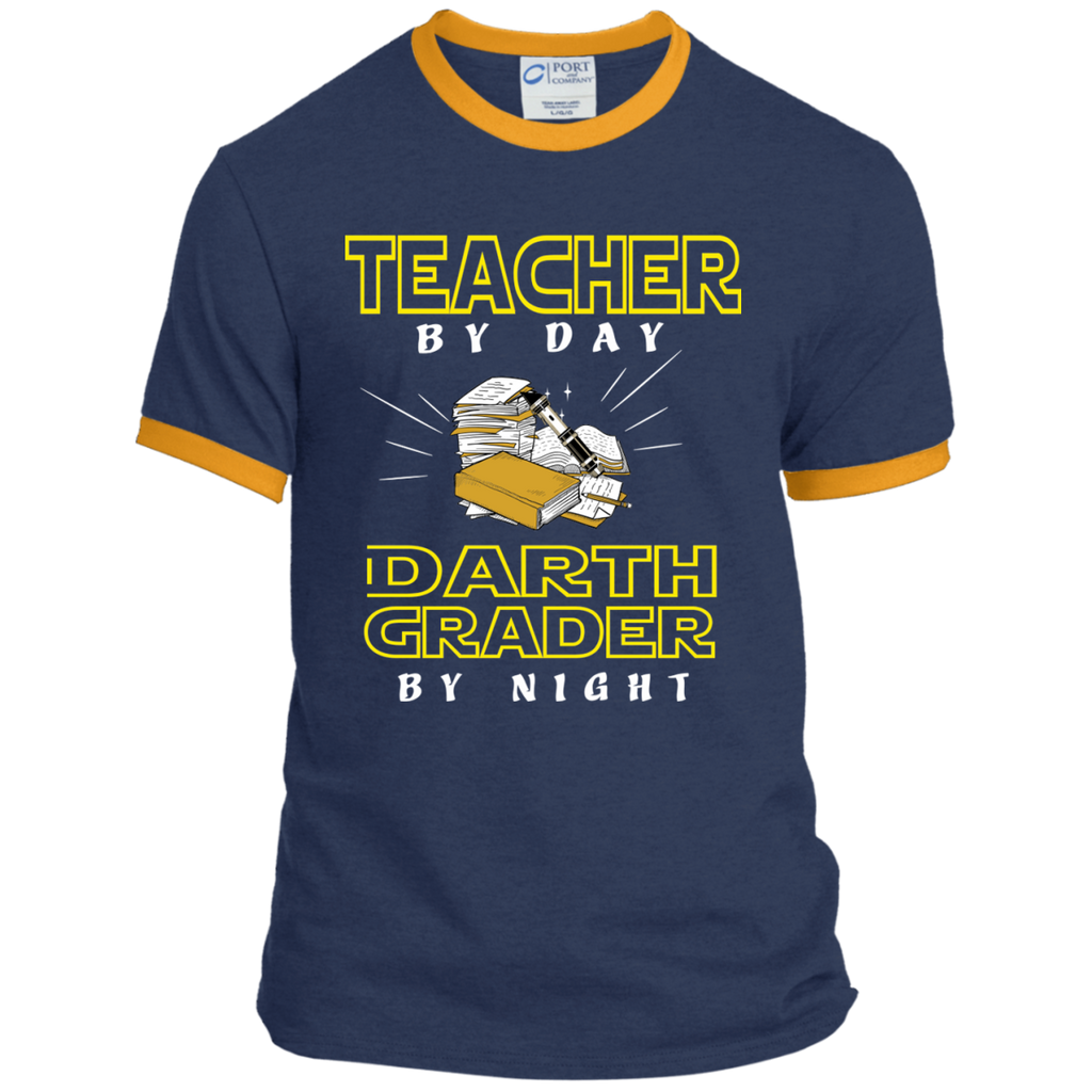 Teacher By Day Darth Grader By Night Ringer Tee - TeachersLoungeShop - 1