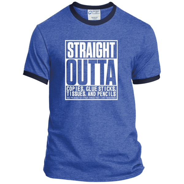 Straight Outta Copies Glue Sticks Tissues and Pencils Ringer Tee - TeachersLoungeShop - 5