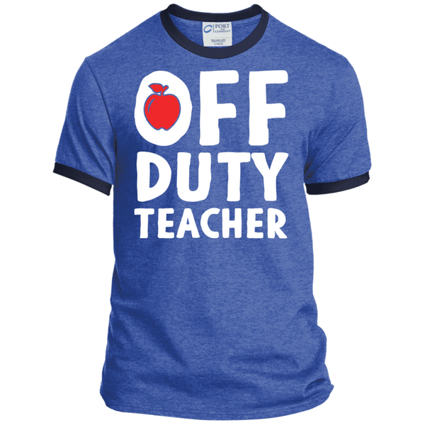 Off Duty Teacher Ringer Tee - TeachersLoungeShop - 5