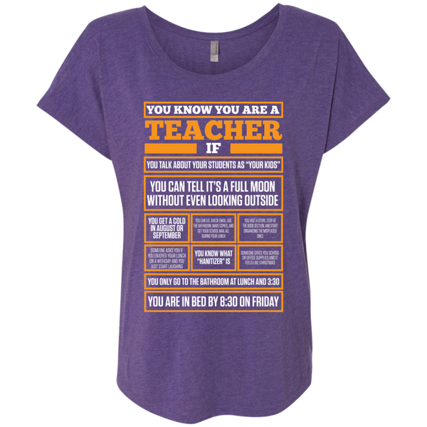 You know You are a Teacher if    Level Ladies Triblend Dolman Sleeve - TeachersLoungeShop - 2
