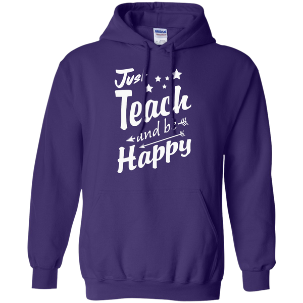 Just Teach and Be Happy  Hoodie 8 oz - TeachersLoungeShop - 10