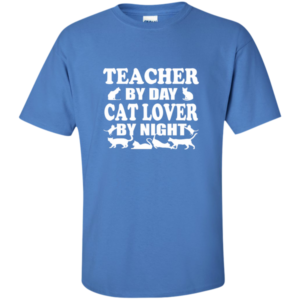 Teacher by Day Cat Lover by Night Cotton T-Shirt - TeachersLoungeShop - 10