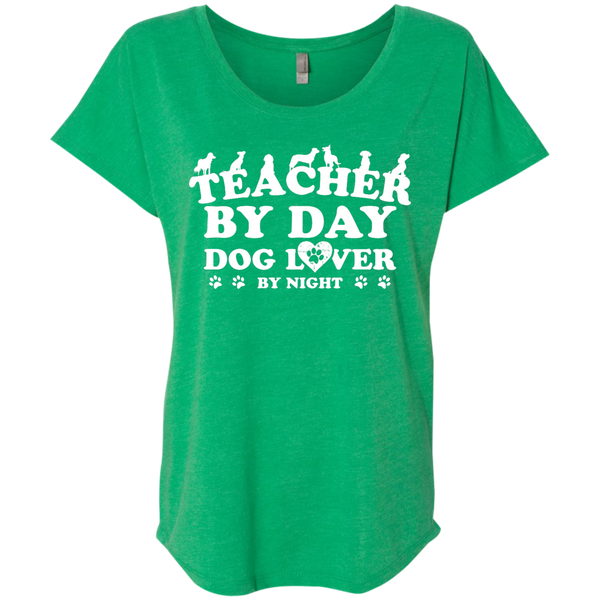 Teacher By Day Dog Lover Next  Level Ladies Triblend Dolman Sleeve - TeachersLoungeShop - 9