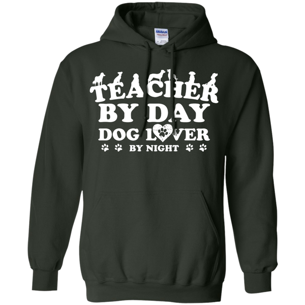 Teacher By Day Dog Lover by Night  Hoodie 8 oz - TeachersLoungeShop - 6