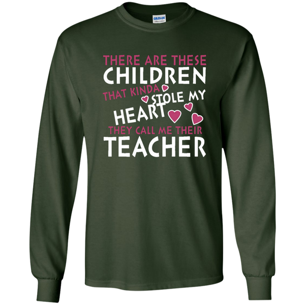 There are these Children that Kinda Stole My Heart They call Me Their Teacher LS Ultra Cotton Tshirt - TeachersLoungeShop - 4
