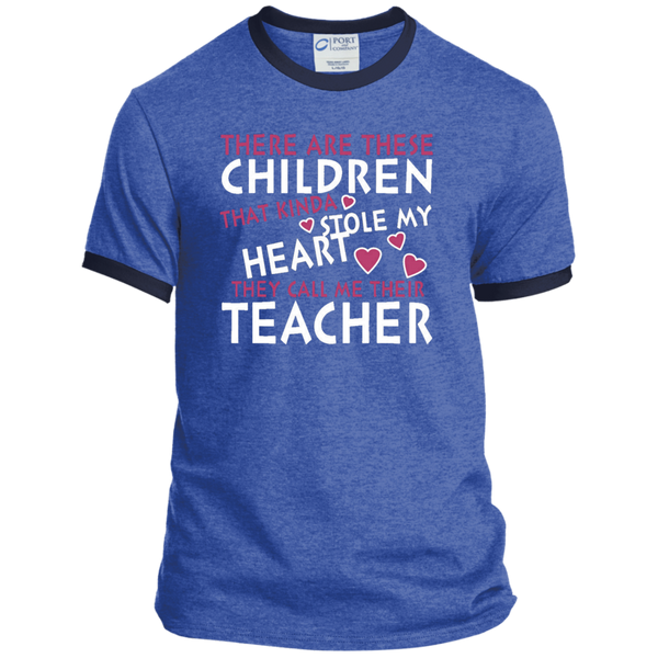 There are these Children that Kinda Stole My Heart They call Me Their Teacher Ringer Tee - TeachersLoungeShop - 6