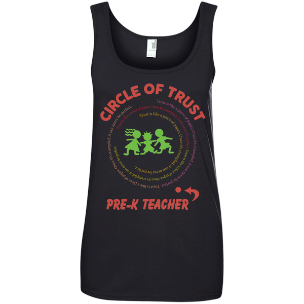 Circle of Trust Pre K Teacher Ladies' 100% Ringspun Cotton Tank Top - TeachersLoungeShop - 1