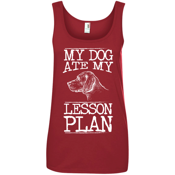 My Dog Ate my Lesson Plan  Ladies  100% Ringspun Cotton Tank Top - TeachersLoungeShop - 3