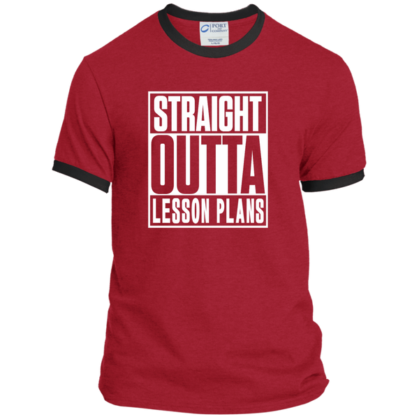 Straight Outta Lesson Plans Ringer Tee - TeachersLoungeShop - 7