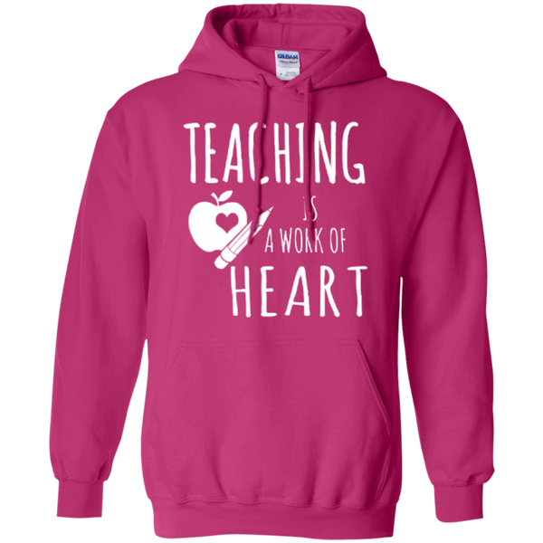 Teaching is a Work of Heart Teacher T-shirt Hoodie - TeachersLoungeShop - 8