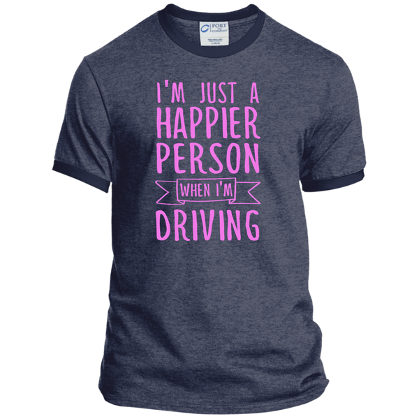 I'm Just a Happier Person When I'm Driving Ringer Tee - TeachersLoungeShop - 6