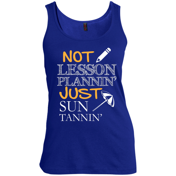 Not Lesson Plannin' Just Sun Tannin'  Scoop Neck Tank Top - TeachersLoungeShop - 4