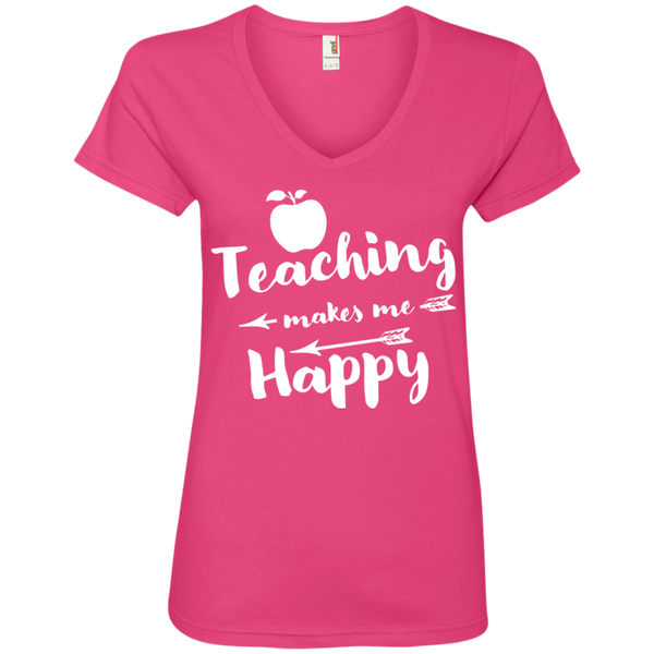 Teaching makes me Happy  Ladies  V-Neck Tee - TeachersLoungeShop - 2