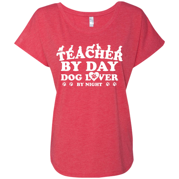 Teacher By Day Dog Lover Next  Level Ladies Triblend Dolman Sleeve - TeachersLoungeShop - 7