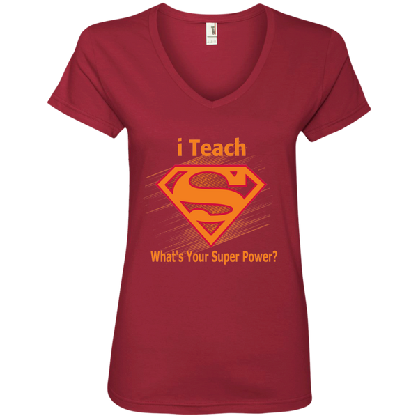 i Teach What's Your Superpower Ladies' V-Neck Tee - TeachersLoungeShop - 4