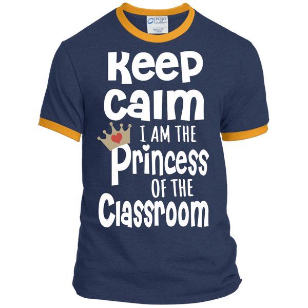 Keep Calm I am the Princess of the Classroom Ringer Tee - TeachersLoungeShop - 1