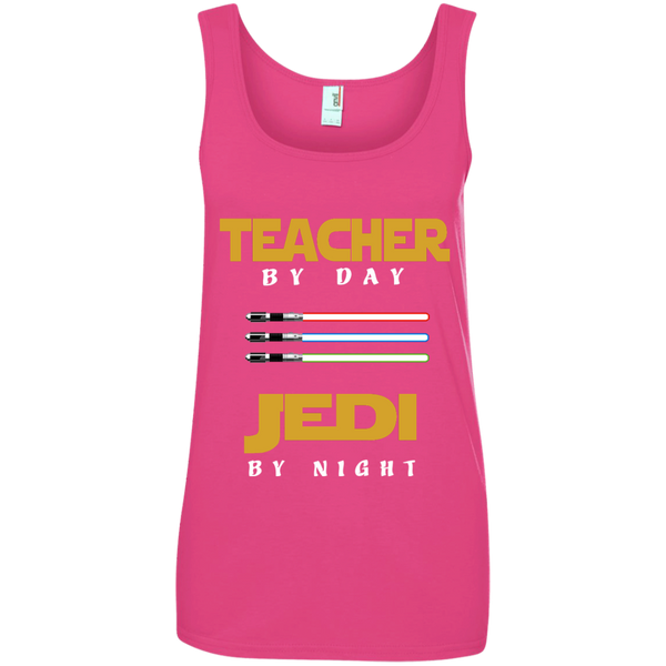 Teacher by Day Jedi by Night Ladies' 100% Ringspun Cotton Tank Top - TeachersLoungeShop - 2