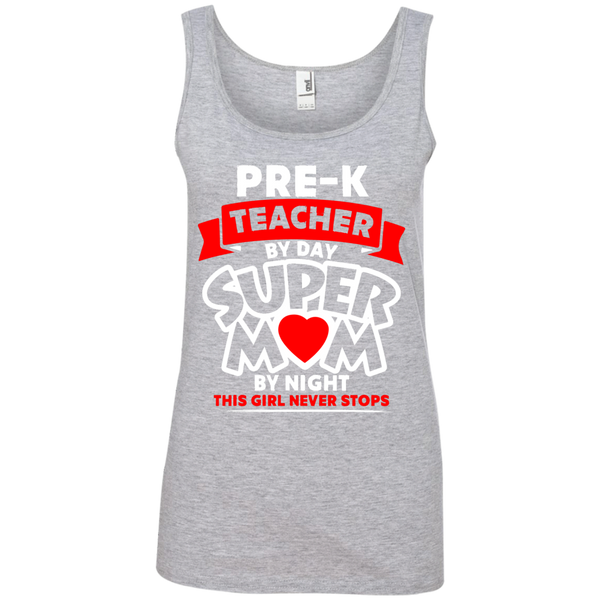 Pre-k  Teacher by Day Super Mom By Night  Ladies  100% Ringspun Cotton Tank Top - TeachersLoungeShop - 1