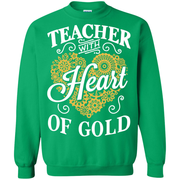 Teacher with Heart of Gold  Crewneck Pullover Sweatshirt  8 oz - TeachersLoungeShop - 7