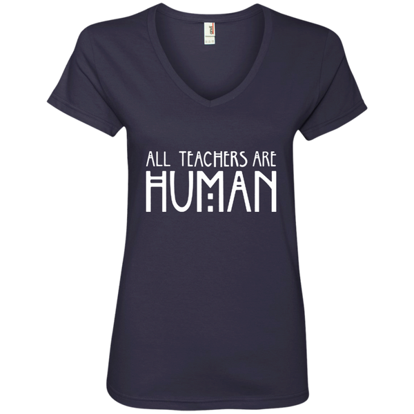 All Teachers Are Human Ladies' V-Neck Tee - TeachersLoungeShop - 4